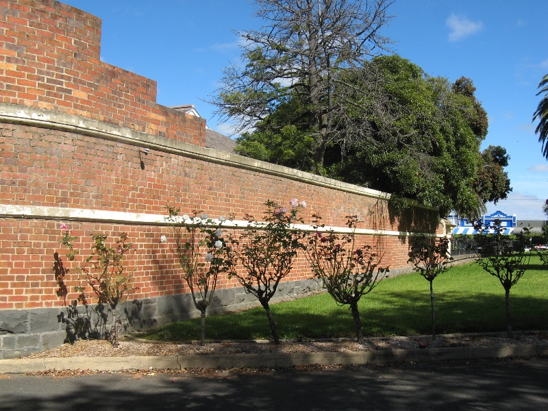 Ararat Civic Precinct brick wall at rear od Shire Hall