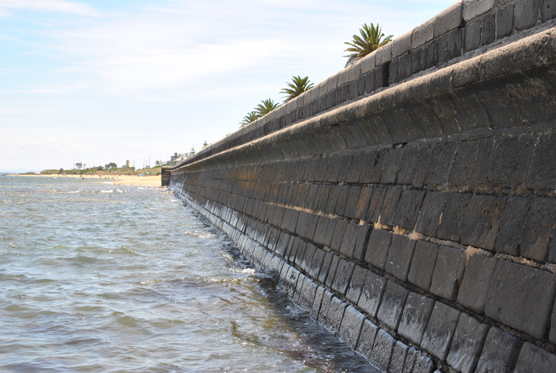 Bluestone sea wall. Image taken 17 Jan 2012