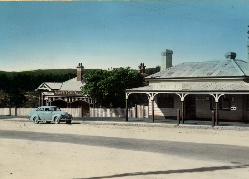 Post Office & Bank of NSW, c.1940s. Source: Linton Historical Society.
