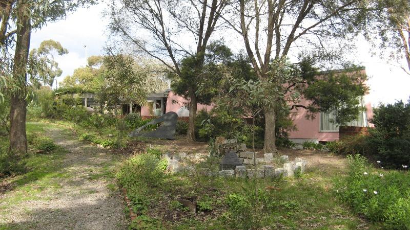Burns house approach with 1972 pavilion nearest