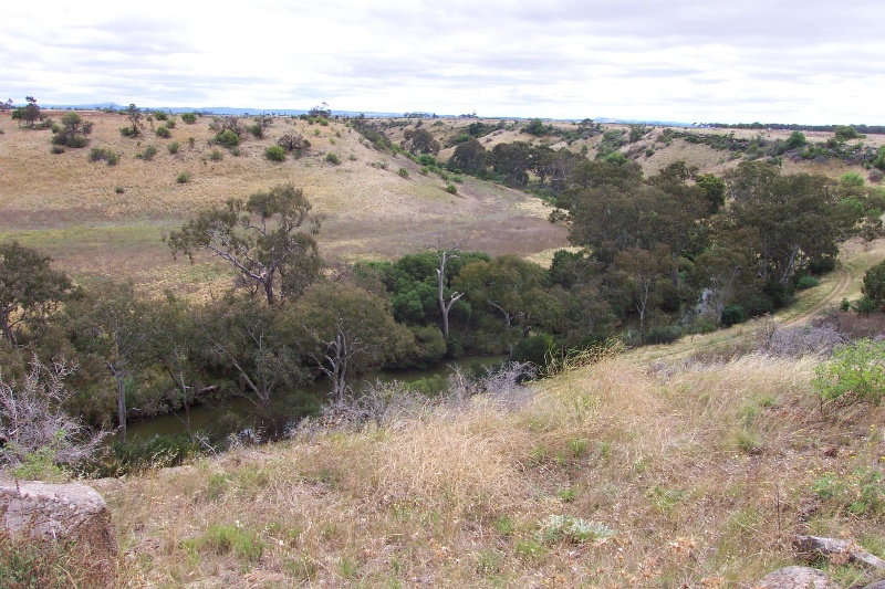 Looking down to the Werribee River from the top of the escarpment