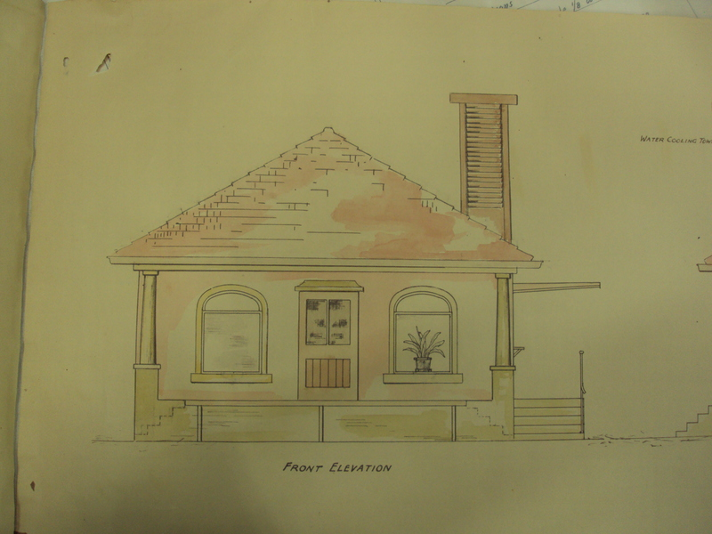 1930 drawing showing the front elevation of the dairy