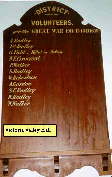 Victoria Valley Hall Honour Roll (First World War)