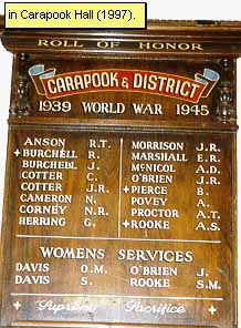 Carapook Honour Roll (Second World War)