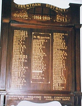 Trentham District Honour Roll (First World War)