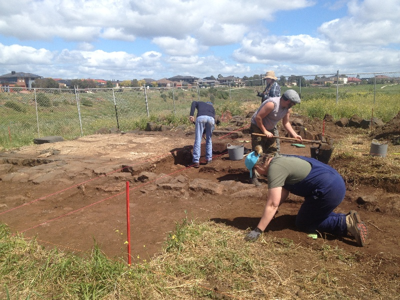 Drovers Hut site visit 8/10/13 - Archaeologist - Barry Green. HV - J. Smith and M. Miller