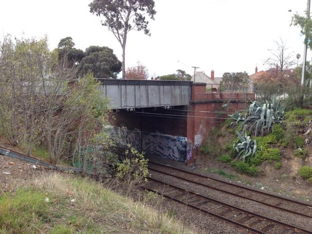 Road over rail bridge between Grice Cres and Napier St