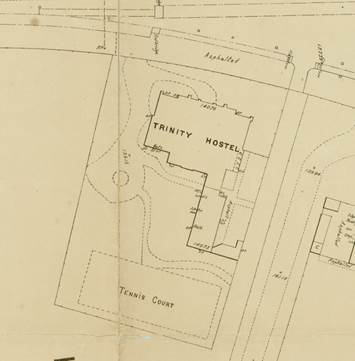 Part of 1897 MMBW plan showing 1891 building, and the tennis court in same position as today.