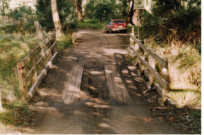 Timber Trestle Bridge Arthurs Creek Eagles Nest Rd Colour 1 - Shire of Eltham Heritage Study 1992