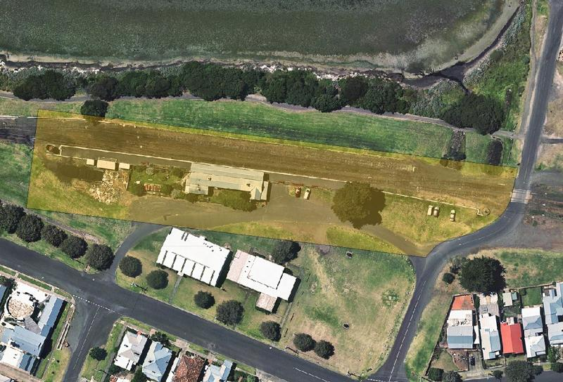 queenscliff railway station extent overlaid on air photo.JPG