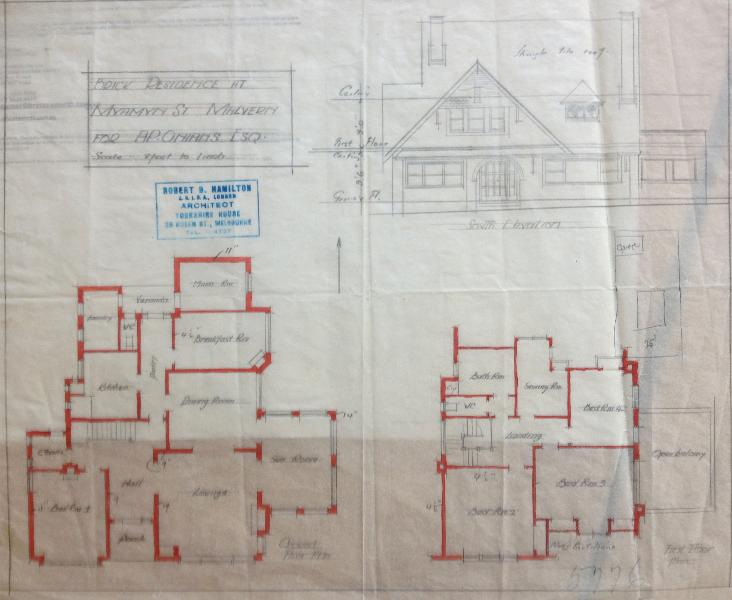 1925 City of Malvern building application plan