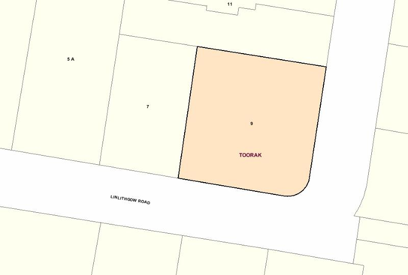Recommended extent of heritage overlay for 9 Linlithgow Road, Toorak.