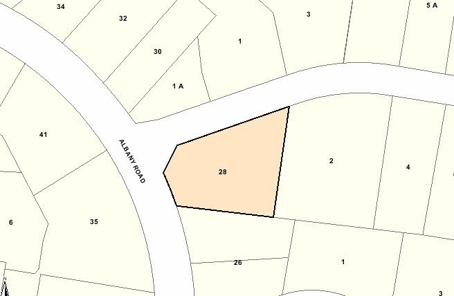 Recommended extent of heritage overlay for 28 Albany Road, Toorak.