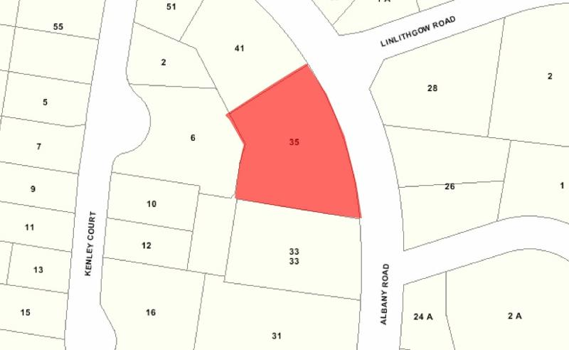 Recommended extent of heritage overlay for 35-39 Albany Road, Toorak.