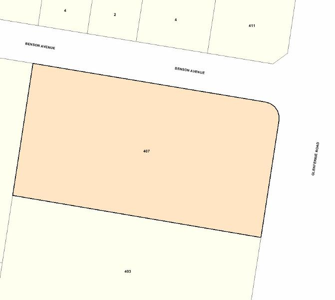 Recommended extent of heritage overlay for 407 Glenferrie Road, Malvern.