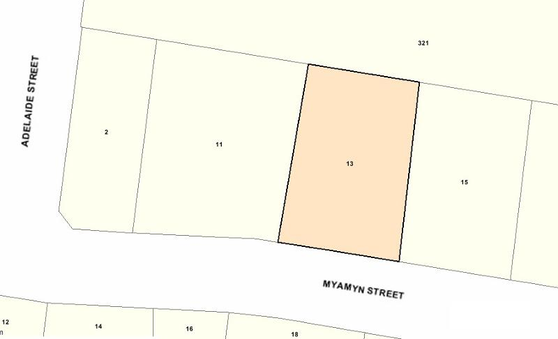 Recommended extent of heritage overlay at 13 Myamyn Street, Armadale.