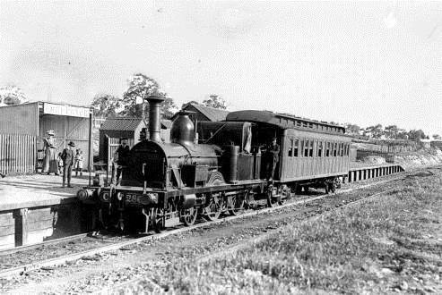 A steam train at the Ashburton Railway Station, circa 1900.jpg