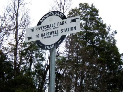 Parts of the former Outer Circle Railway have been converted into walking and cycling tracks.This sign is from the 'Anniversary trail'.jpg