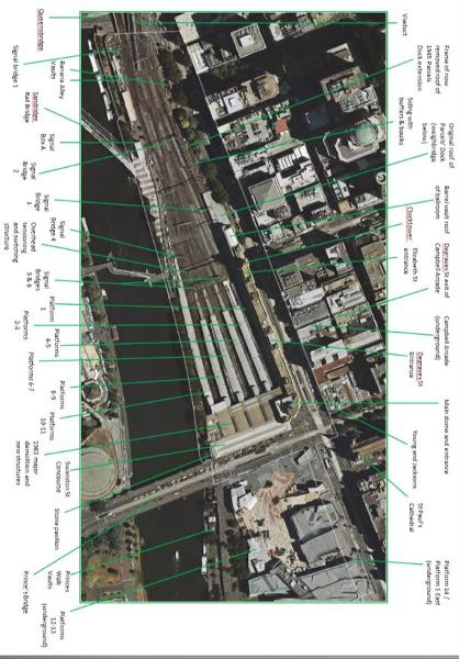Annotated Diagram of Flinders Street Station Complex