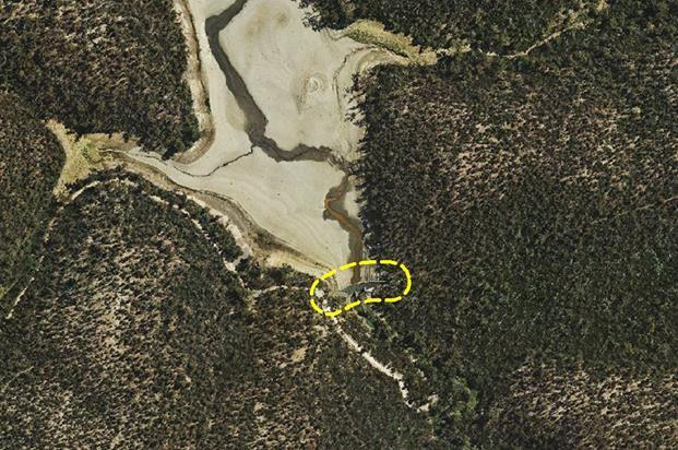 Aerial photo of the location of the Lower Stony Creek Dam Wall