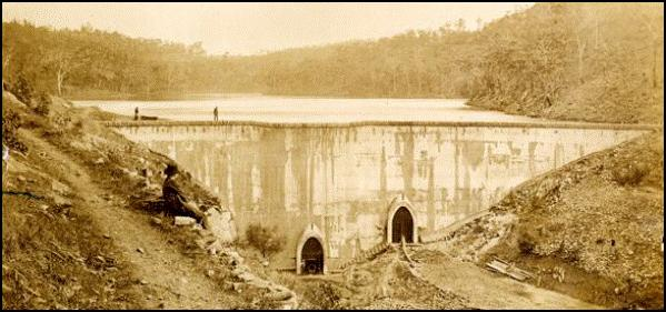 The outer face of the dam wall during construction 1873 (Image Barwon Water).gif