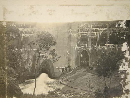 The outer face of the Lower Stony Creek Dam Wall c.1910 Image Geelong Heritage Service.jpg