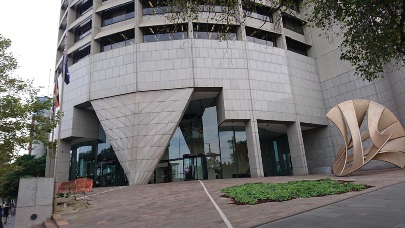 Main external plaza at corner of Spring and Flinders Streets