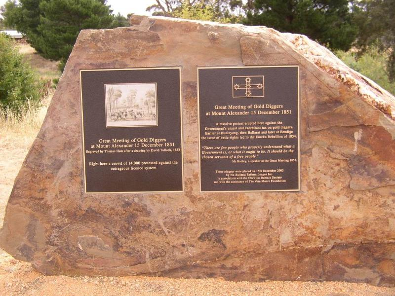 Monument at the Monster Meeting Site, erected by the Ballarat Reform League Inc. on registered land