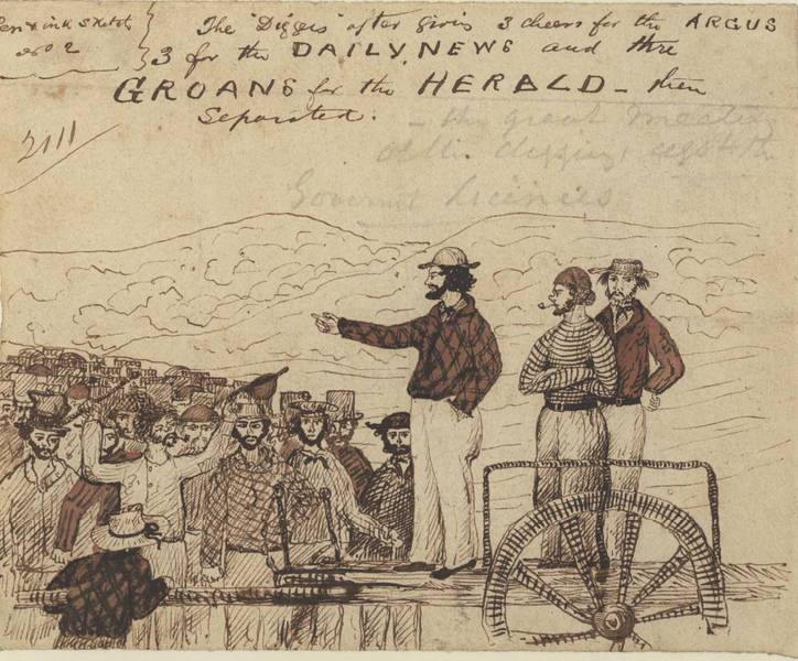 1854 Pen and ink sketch of speakers at the Monster Meeting (artist unknown)