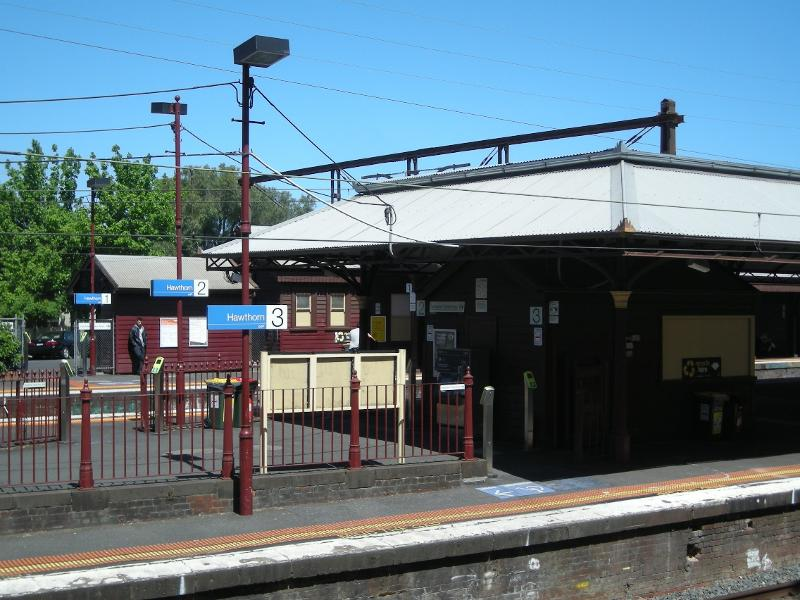 Looking from the west at the northern ends of the buildings and canopies on Platforms 1, 2 and 3