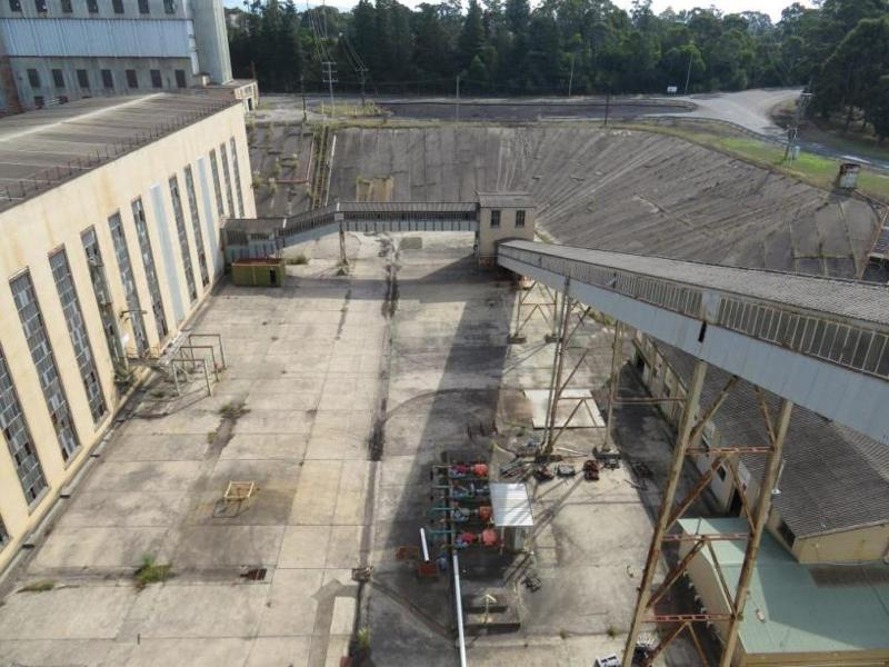 View east from the top of No.1 Briquette Factory looking at the conveyors and North West Corner Station.