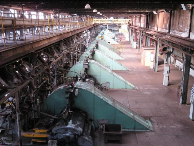 View of briquette machinery in No.1 Briquette Factory, looking east.