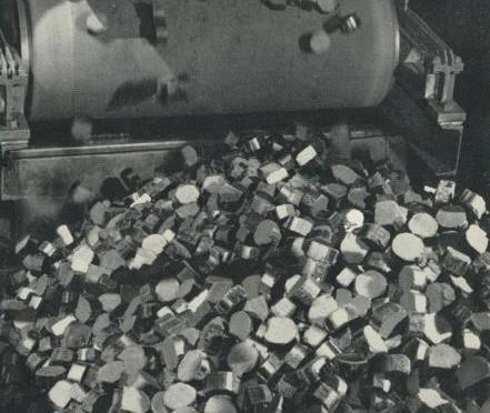 Loading briquettes for despatch, 1959.