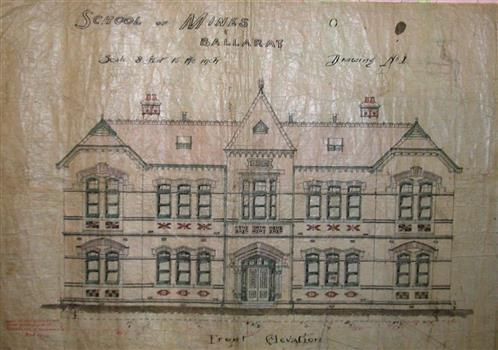 1899, Drawing (front elevation) for Administration Building, former new classrooms building (Building A).jpg