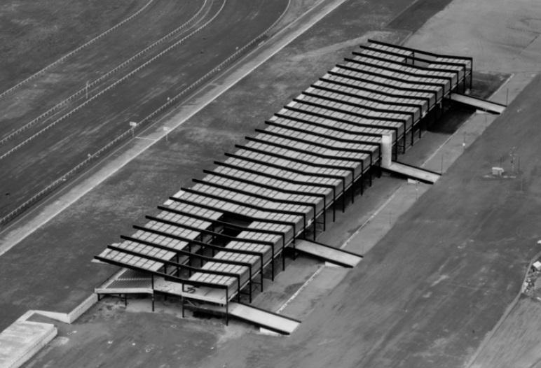 The grandstand (prior to interior fitout) as seen in aerial photograph by Lyle Fowler 1963.jpg