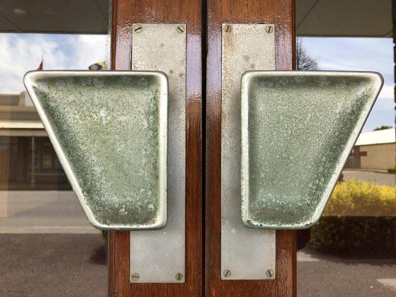 Memorial Hall Koroit nickel plated front door handles.JPG