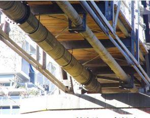 Walmer Street Bridge - pipe from Dight s Falls Scheme suspended under bridge - 2019