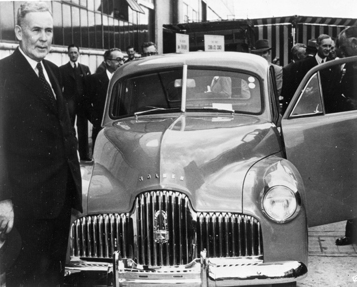 GMH FIshermans Bend - Prime Minister Ben Chifley at launch of Holden 48-215 at Fishermans Bend - 1948